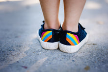Load image into Gallery viewer, Hook & Loop navy sparkle kids shoe with a rainbow