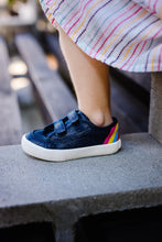 Load image into Gallery viewer, children hook & loop navy shoe with rainbow