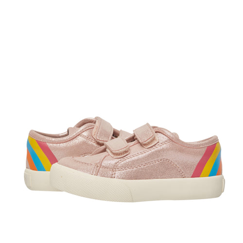 Pink double hook and loop with a rainbow at the heel.  Perfect for the playground to the classroom