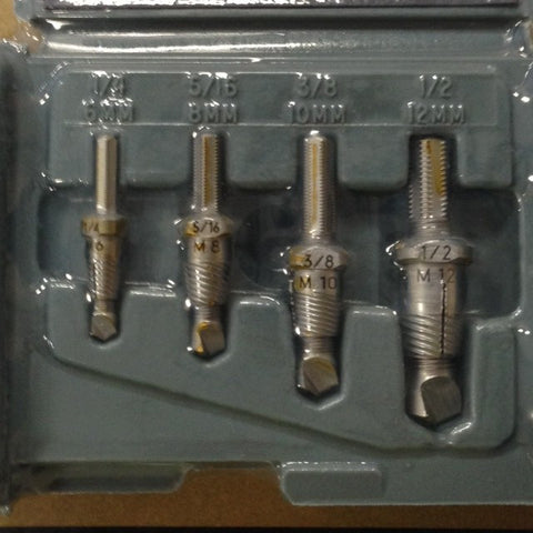 "Drill-out Set A401C for 1/4""-1/2""(6-12mm), 4 pc. regular drill-out set"