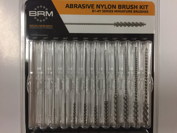 Abrasive Nylon Miniature Brush Kit- Series 81-AY,  .032 - .189