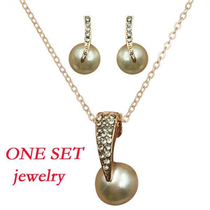 1 Sets Of Exquisite Pearl Jewellery  Full Of Diamonds Earnail And Necklace Suit - Euforia Jewels