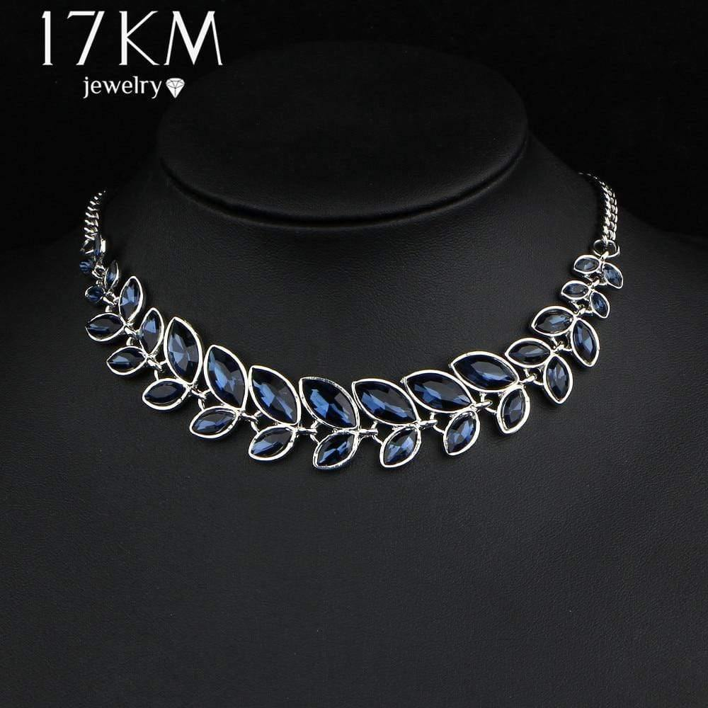 17KM 3 Color Leaves Crystal Choker Statement Necklace for Women Bohemian Rhinestone Collar Bijoux Maxi Necklaces Wedding Jewelry - Euforia Jewels