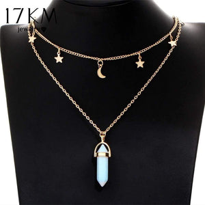 17KM 6 Colors Big Stone Moon & Star Pendant Tattoo Choker Necklace for Women Geometric Bohemian Necklaces Chain Boho Jewelry - Euforia Jewels