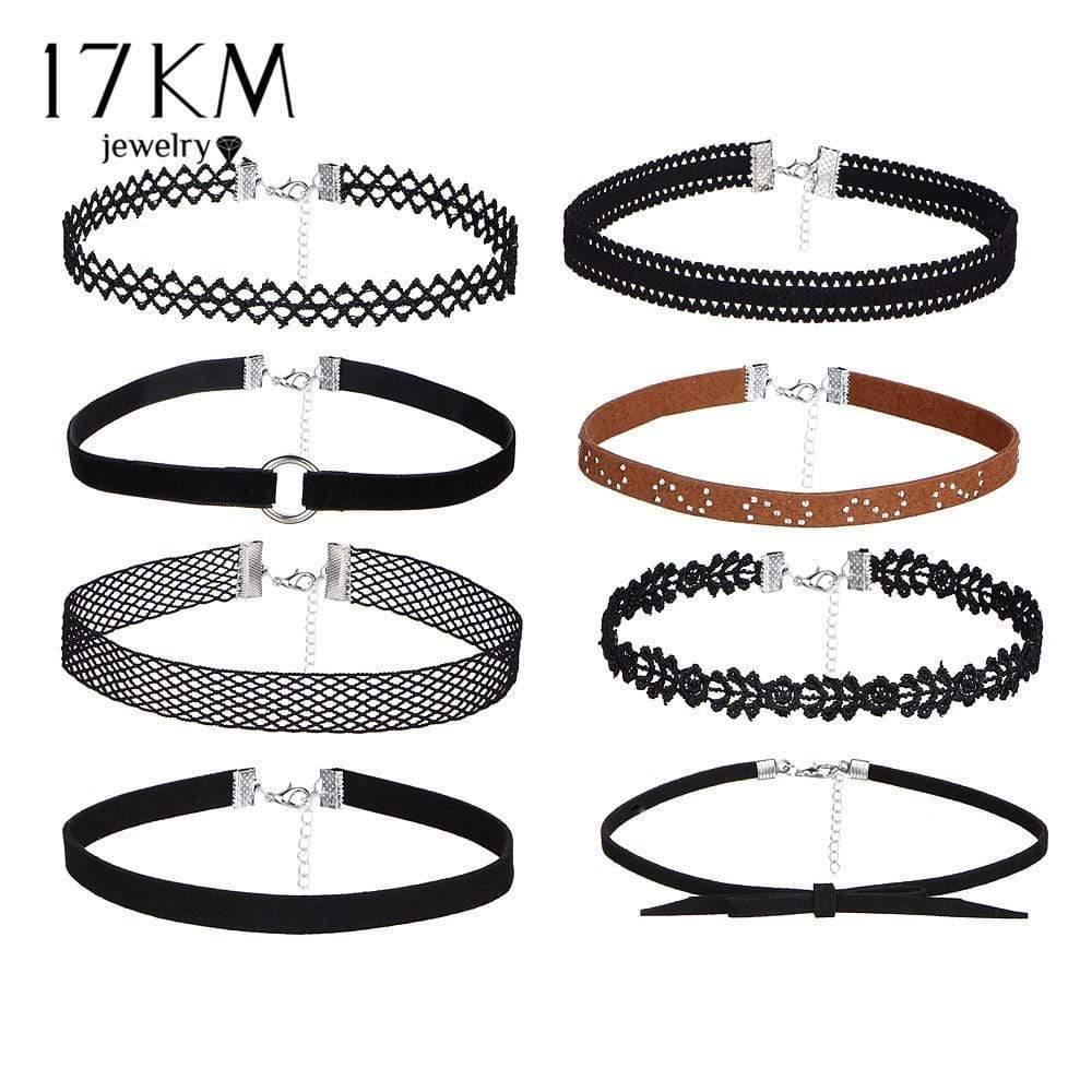 17KM 8 PCS/Set PU Leather Choker Necklaces Set for Women Steampunk Collar Lace Necklace Jewelry Gothic Tattoo Collier Femme - Euforia Jewels
