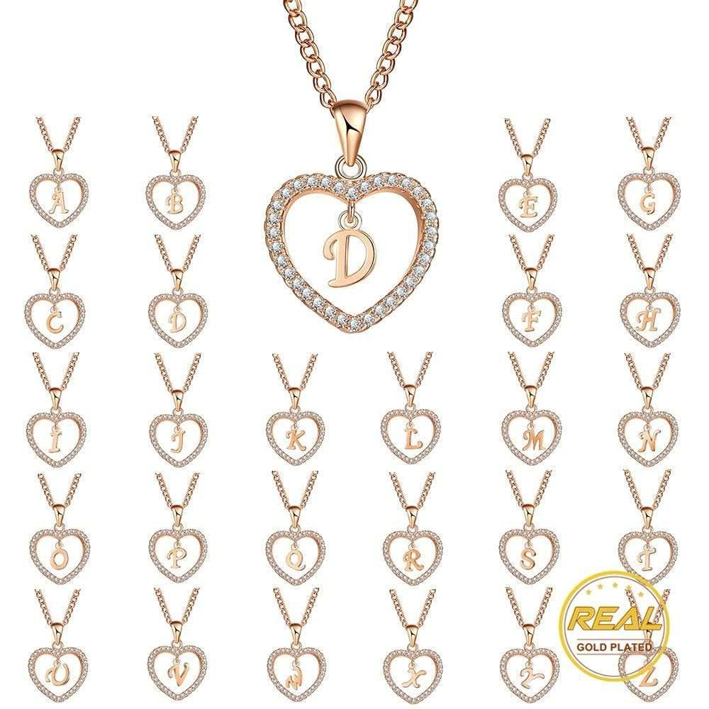 17KM A To Z 26 Letter Name Necklaces & Pendant For Women Girl Fashion Long Chain Heart Necklaces Cubic Zirconia DIY Jewelry Gift - Euforia Jewels
