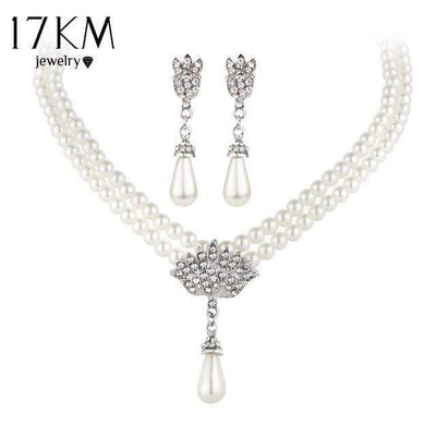 17KM Charming Bride Simulated Pearl Jewelry Set Bling Crystal Water Drop Pendant Necklaces Earring Fashion Jewelry Accessory - Euforia Jewels