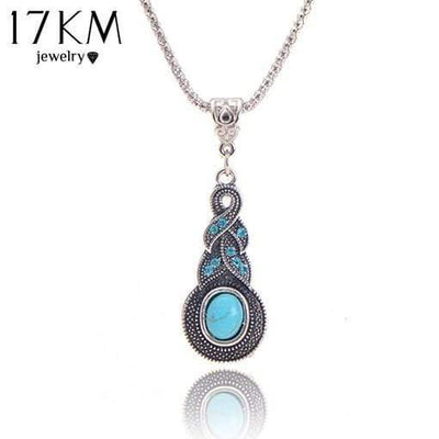 17KM Crystal Tibetan Rhinestone Cross Geometric Necklace For Woman Round Charming Blue Stone Infinity Pendant Necklace Jewelry - Euforia Jewels