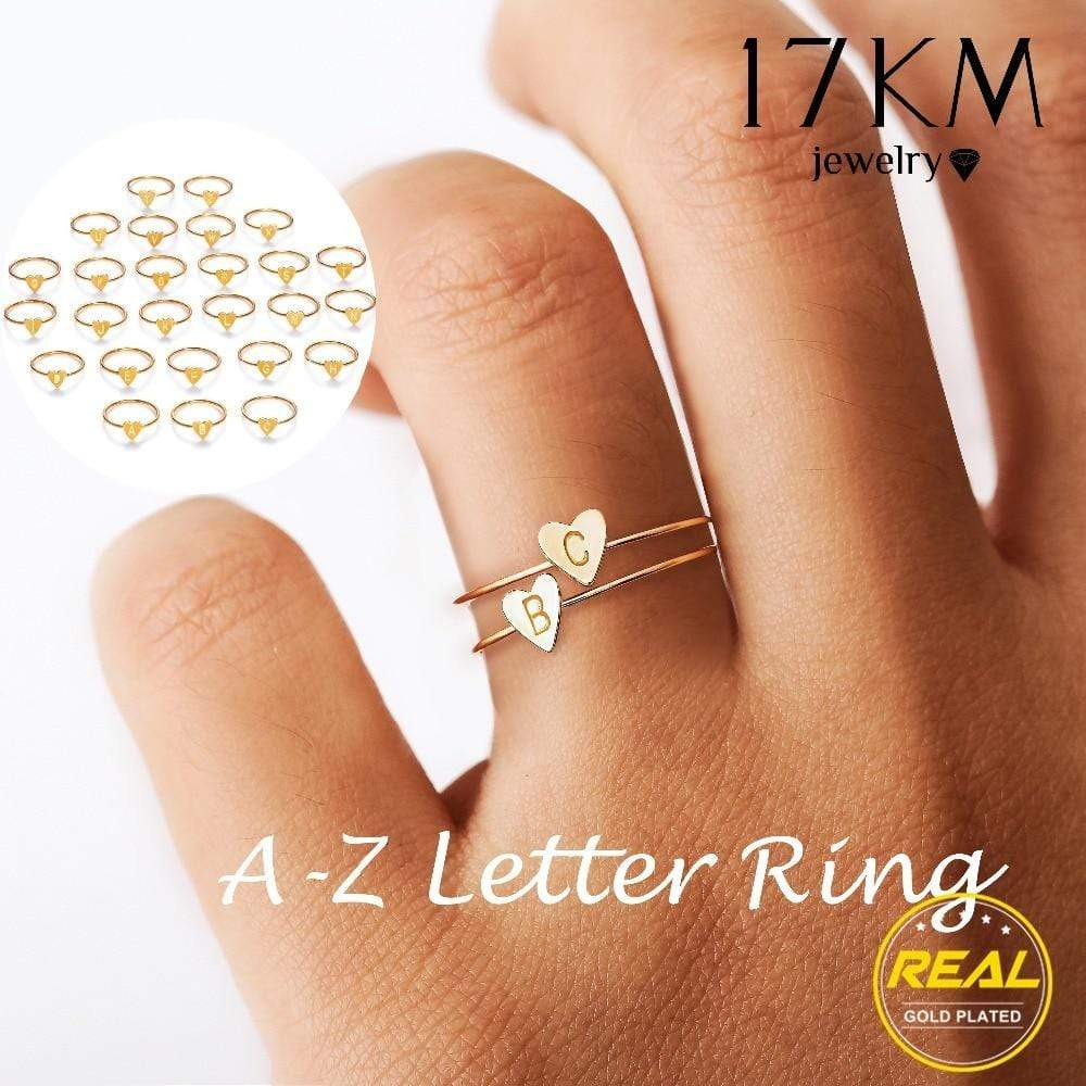 Fashion 26 Letters Heart Rings Girls Friendship Name Finger Ring Jewelry Gift