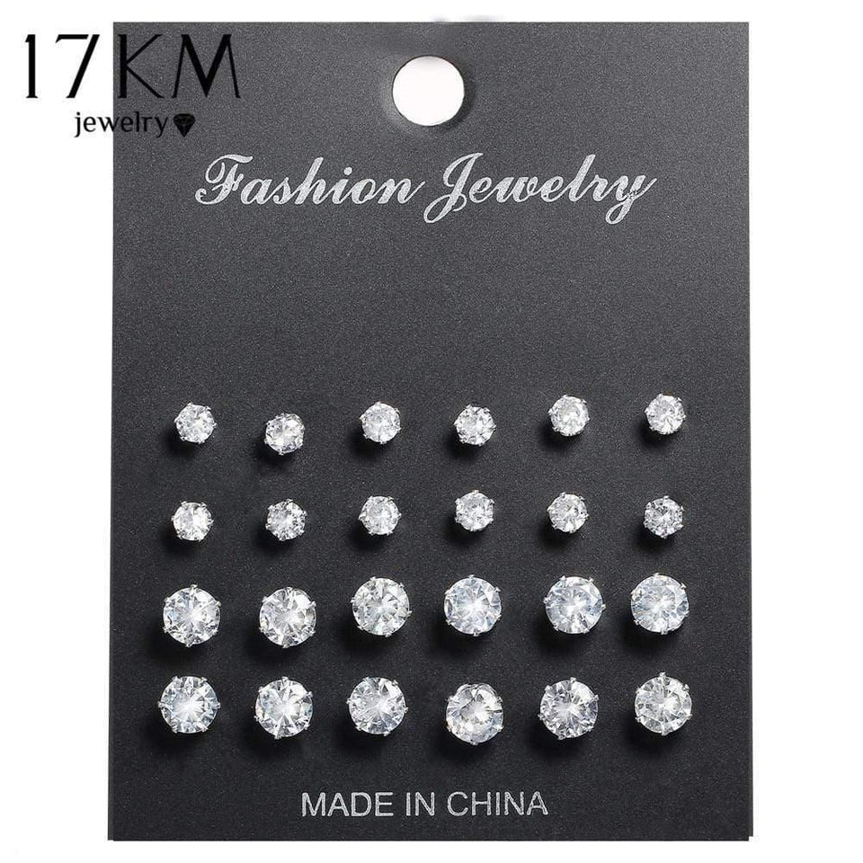 17KM Fashion Cubic Zirconia Stud Earrings Set For Woman Simple Round Silver Color Earring Statement Party Jewelry Gifts 12 Pairs - Euforia Jewels