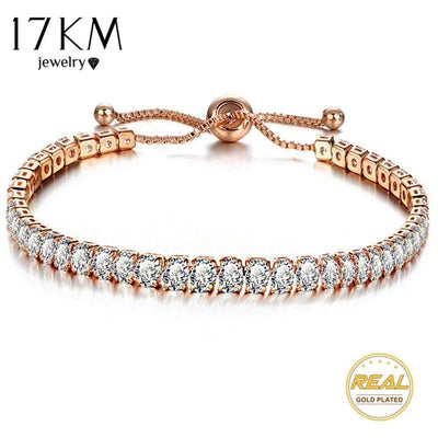 17KM Fashion Cubic Zirconia Tennis Bracelet & Bangle Adjustable Pulseras Mujer Charm Bracelet For Women Bridal Wedding Jewelry - Euforia Jewels