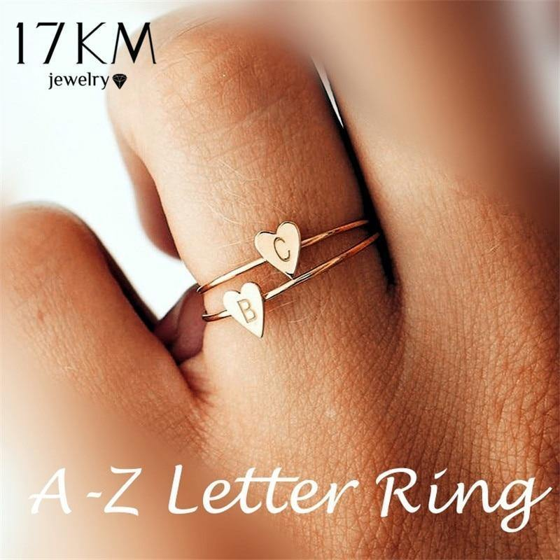 17KM Fashion Gold Silver Color Heart Letters Rings For Women DIY Name Ring Set Female Statement Engagement Party Jewelry 1PCS - Euforia Jewels