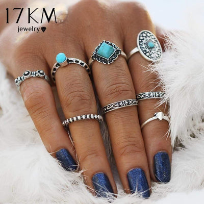 17KM Geometric Stone Oval Midi Ring Sets Boho Beach Anillos Finger knuckle Rings for Women Man Punk Style Jewellery Accessory - Euforia Jewels