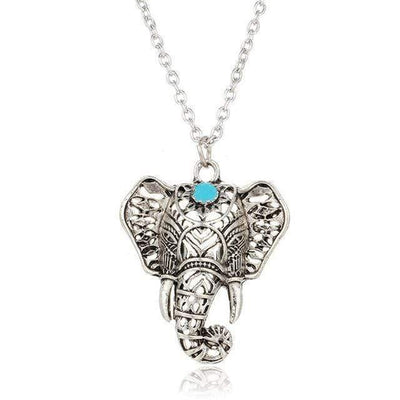 17KM Hot Vintage Elephant Pendant Necklace Boho Antique Blue Stone Choker Necklace Bohemia Bijoux Collares Bar Necklace - Euforia Jewels