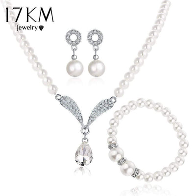 17KM Imitation Pearl Water Drop Jewelry Sets Necklaces Silver Color Crystal Earrings Bracelet for Women Statement Bijoux Femm - Euforia Jewels