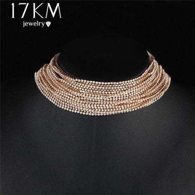 17KM Multiple layers Rhinestone Crystal Choker Necklace for Women New Bijoux Maxi Statement Necklaces Collier Fashion Jewelry - Euforia Jewels