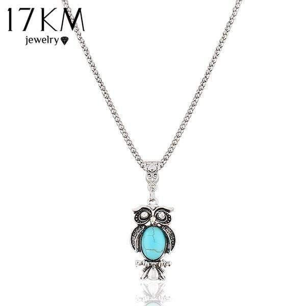 17KM New Fashion Vintage Bohemia Ethnic Style Bohemia Owl Pendants Necklace Blue Stone Statement Party Necklace jewelry - Euforia Jewels