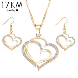 17KM Romantic Heart Pattern Crystal Earrings Necklace Set Silver Color Chain Jewelry Sets Wedding Jewelry Valentine's Gift - Euforia Jewels