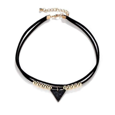17KM Triangle Stone Choker Double Layer Unicorn Necklaces for Women Fashion Beads Pendant Collier Leather Necklace Boho Jewelry - Euforia Jewels