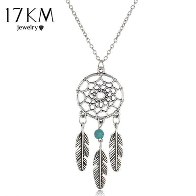 17KM Vintage Dream Catcher Leaves collier Pendant Necklace kettingen Silver Color Girl Bib Chokers Pendants & Necklaces collares - Euforia Jewels