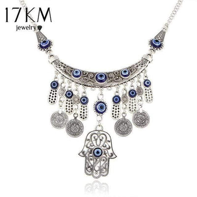 17KM Vintage Silver Color Statement Necklaces For Women 2017 Fatima Eye Hand Tibetan Pendants Ethnic Jewelry Maxi Accessories - Euforia Jewels