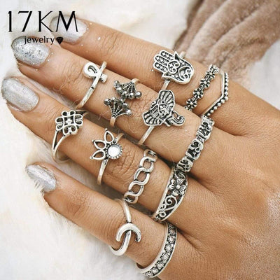 17KM Vintage Turkish Hasma Ring Sets Anillos 2017 New Geometric Silver Color Elephant Knuckle Ring for Women Anillos Jewellery - Euforia Jewels