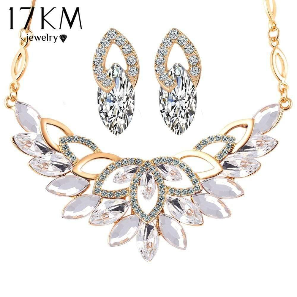 17KM Wedding Gold Color 3 Color Crystal Flower Necklace Jewelry Sets Party Women African Beads Bridal Earrings Accessories - Euforia Jewels
