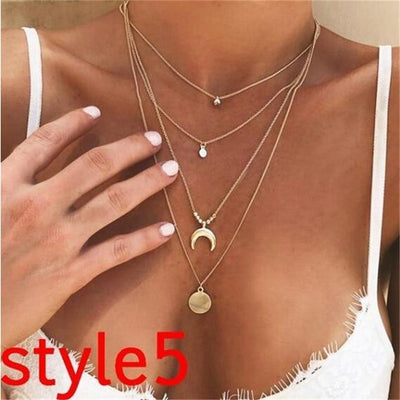 2018 New Multilayer Crystal Moon Pendant Necklaces For Women Vintage Charm Choker Necklace Statement Party Jewelry Accessories - Euforia Jewels