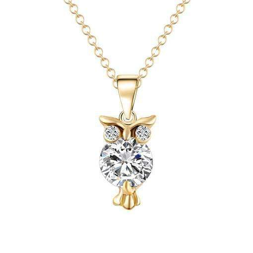 2018 New Zircon Pendants Owl Necklace For Women Crystal Heart Gold Sliver Color Long Necklaces Fashion Jewelry Christmas Gift