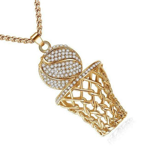 2019 New Iced Out Basketball Hoop Pendant Necklaces Gold Color Stainless Steel Chain Necklace Men Sports Hip Hop Jewelry - Euforia Jewels