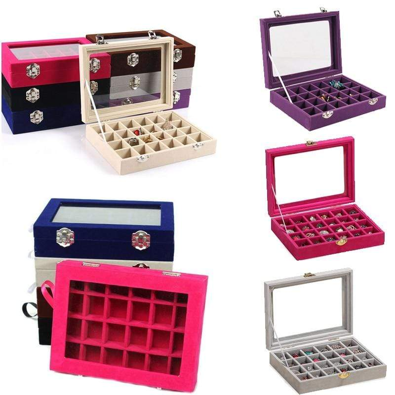 24 Grids Black Rose Red Velvet Jewelry Box Rings Earrings Necklaces Makeup Holder Case Organizer Women Jewelery Storage - Euforia Jewels