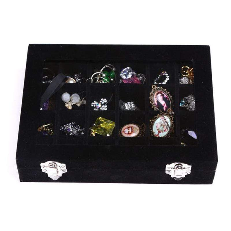 24 Grids Black Rose Red Velvet Jewelry Box Rings Earrings Necklaces Makeup Holder Case Organizer Women Jewelery Storage