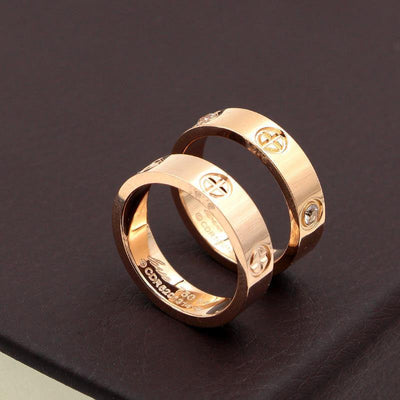 New Love Cross with diamonds couple ring titanium steel men and women on the ring wedding ring tail ring rose gold jewelry