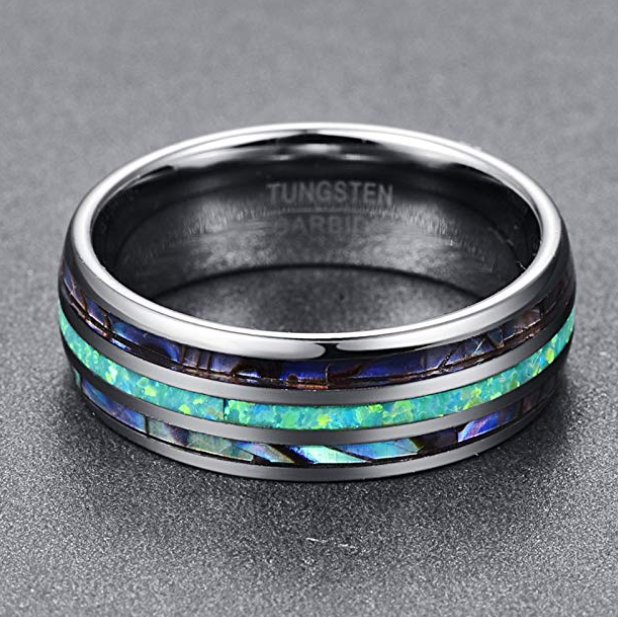 Abalone Shell and Marine Opal Domed Tungsten Ring - Euforia Jewels