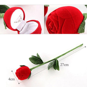3D Red Rose Jewelry Box Wedding Ring Gift Case Earrings Storage Display Holder Gift Boxes For Earring Rings - Euforia Jewels