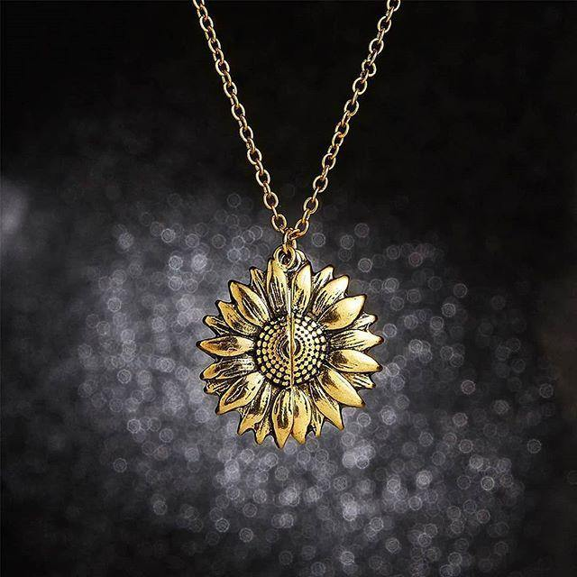 Sunflower Locket Necklace - You are my Sunshine - Euforia Jewels