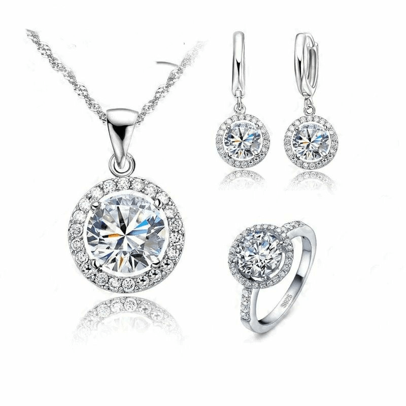 925 Sterling Silver Crystal Earrings, Necklace & Ring Set - Euforia Jewels