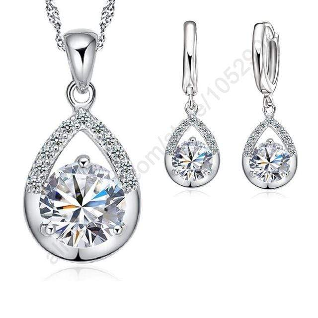 925 Sterling Silver Earrings Necklace Set - Euforia Jewels