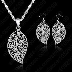 925 Sterling Silver Leaves Earrings & Pendant Necklace - Euforia Jewels