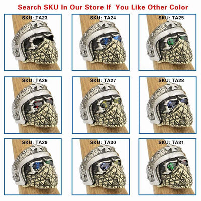 925 Sterling Silver Skull Bikers Ring with Gemstones - Euforia Jewels