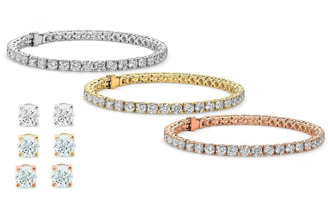 Stud Earrings and Tennis Bracelet Set Made with Swarovski Crystals - Euforia Jewels