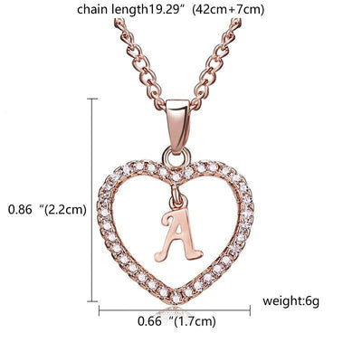 17KM Fashion DIY Letter Custom Pendant Necklaces For Women Girl Long Rose Gold Sliver Heart Necklace Statement Jewelry Gifts - Euforia Jewels