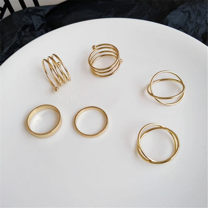 Hiphop/Rock Metal Geometry Circular Punk Rings Set Opening Index Finger Accessories Buckle Joint Tail Ring for Women Jewelry