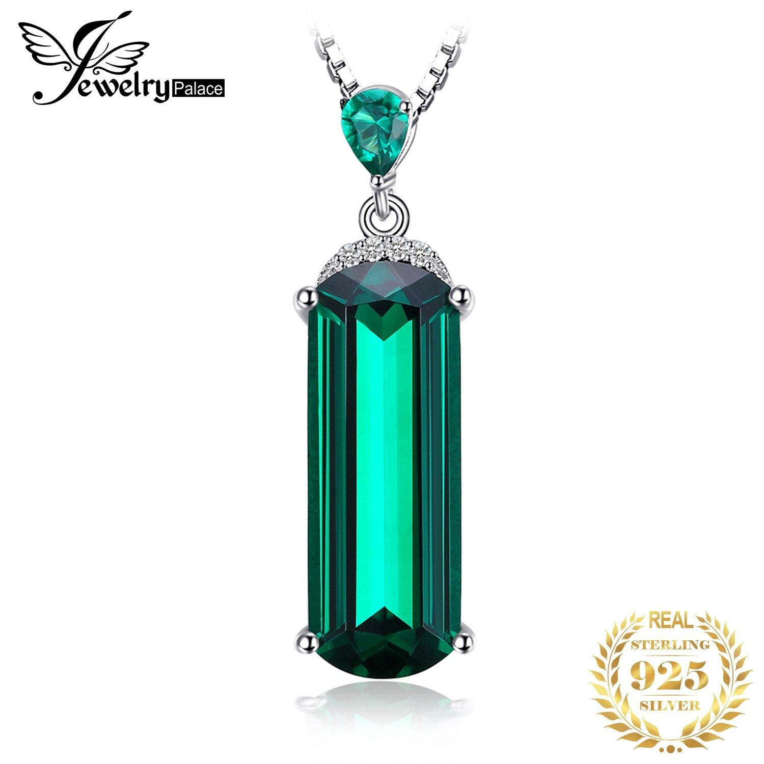 Jpalace Simulated Nano Emerald Pendant Necklace 925 Sterling Silver Gemstones Choker Statement Necklace Women No Chain