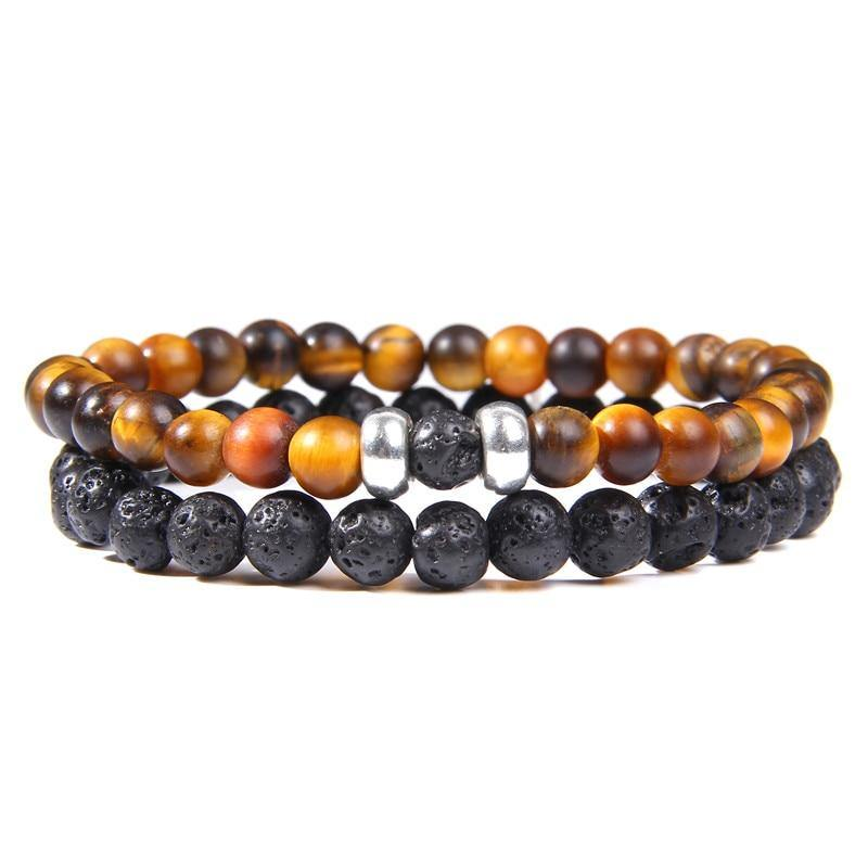 2Pcs/Set Couples Distance Bracelets male Black Lava Stone Beads bracelet female wood beads Charm Bracelets Women Men bracelet