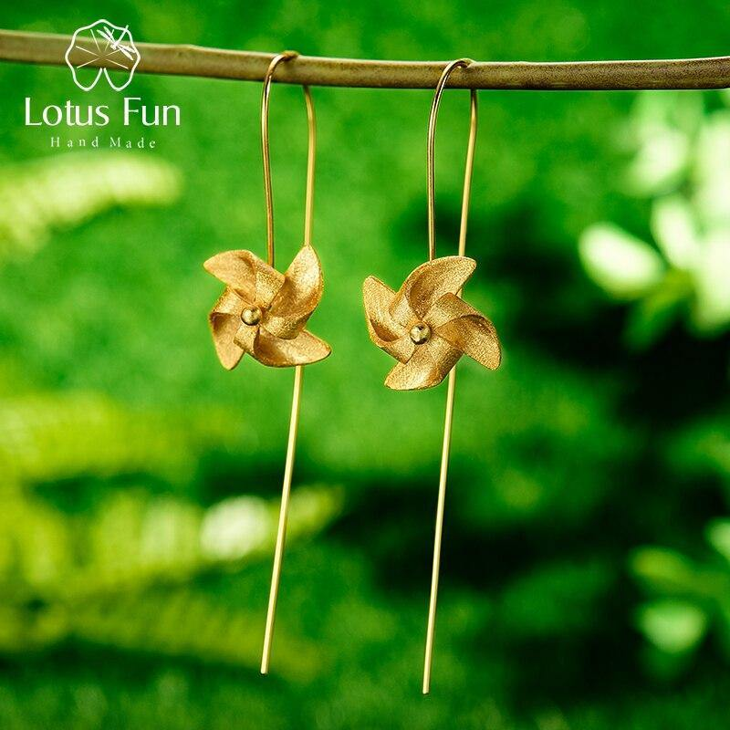 Lotus Fun Creative Rotable Windmill Dangle Earrings Real 925 Sterling Silver Handmade Designer Fine Jewelry Earrings for Women