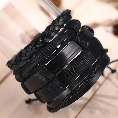 IFMIA Vintage Leaf Feather Multilayer Leather Bracelet Men Fashion Braided Handmade Star Rope Wrap Bracelets & Bangles Male Gift