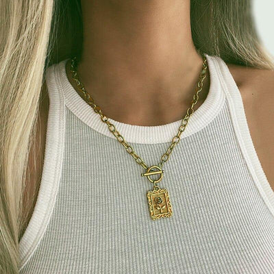 17KM Fashion Gold Lock Rose Pendant Necklace For Women Girls Geometric Square Coin Sweater Necklaces Party Jewelry