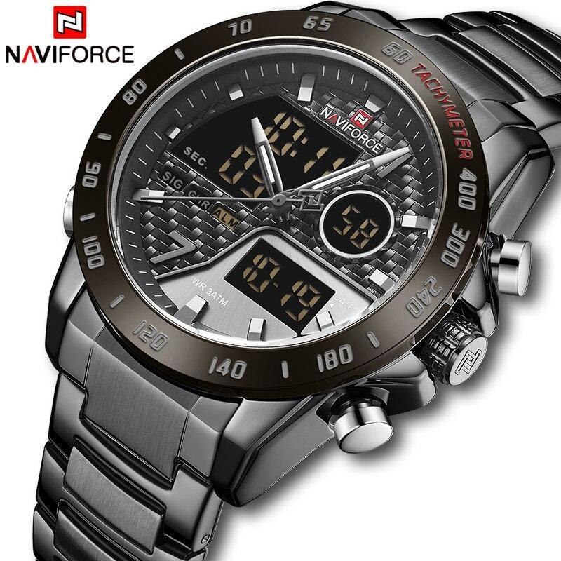 NAVIFORCE New Watches for Men Top Luxury Brand Fashion Quartz Watch Stainless Steel Sport Men's Wristwatch Relogio Masculino
