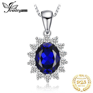 JewelryPalace Kate Princess Diana William 2.5ct Blue Sapphire Pendant 925 Sterling Silver Wedding Pendant Jewelry No Chain